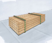 Paketsäkring med enkel bandning av godset och samtidig inmatning av över/underslag av trä.