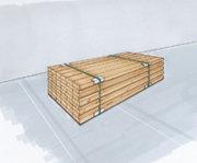 Paketsäkring genom bandning av godset och samtidig insättning av övre och undre kantskydd.
